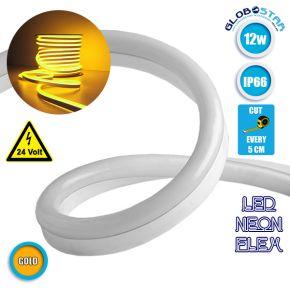 NEON FLEX LED Λευκή 1m 12W/m 24V 120 SMD/m 2835 SMD 450lm/m 120° Αδιάβροχη IP66 Πορτοκαλί Χρυσό Dimmable GloboStar 22624