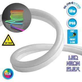 NEON FLEX LED Λευκή 1m 18W/m 24V 120 SMD/m 2835 SMD 450lm/m 120° Αδιάβροχη IP66 RGB Dimmable GloboStar 22626