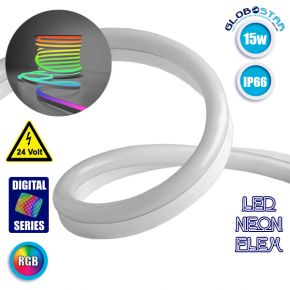 NEON FLEX LED 1m 15W/m 24V 60 SMD/m 5050 SMD 1200lm/m 120° Αδιάβροχη IP66 Digital Magic DMX Addressable UCS512C3 RGB Dimmable GloboStar 22627