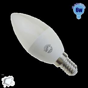 Κεράκι LED C37 με βάση E14 Globostar 6 Watt 230v Ψυχρό
