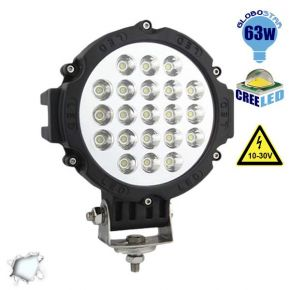 Προβολέας LED Εργασίας BLACK Round 63 Watt 10-30v Ψυχρό Λευκό