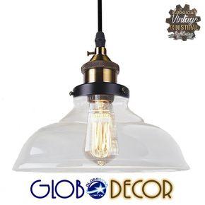 GloboStar® BINGLEY 01075 Vintage Κρεμαστό Φωτιστικό Οροφής Μονόφωτο Γυάλινο Καμπάνα Φ20 x Y15cm