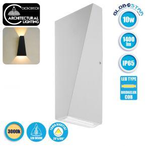 LED Φωτιστικό Τοίχου Αρχιτεκτονικού Φωτισμού Λευκό Up Down 1400lm 10 Watt 20° & 100° 230V Θερμό Λευκό Αδιάβροχο IP65 GloboStar 96410