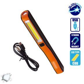 Mini Φορητός Φακός με Μπαταρίες PEN COB LED και φορτιστή USB Πορτοκαλί Χρώμα