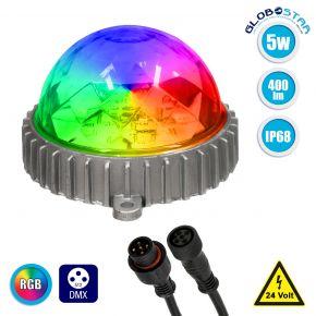 GloboStar® 30547 Ψηφιακό LED Module GENIUS DMX512 Addressable 5W 400 lm 320° DC 24V Αδιάβροχο IP68 RGB Φ12 x Υ7cm