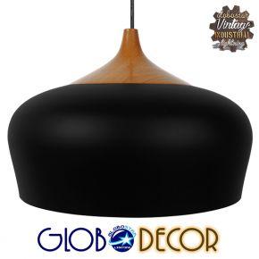 Μοντέρνο Κρεμαστό Φωτιστικό Οροφής Μονόφωτο Μαύρο Καμπάνα Φ35 GloboStar VILI BLACK 01261