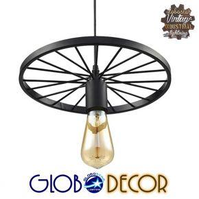 GloboStar® WHEEL 01161 Vintage Industrial Κρεμαστό Φωτιστικό Οροφής Μονόφωτο Μαύρο Μεταλλικό Πλέγμα Φ30 x Y10cm