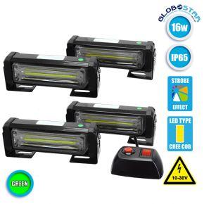 Φώτα Ασφαλείας Security LED 4 x COB LIGHT 16W 10-30V IP65 Πράσινο Εξωτερικά GloboStar 34311