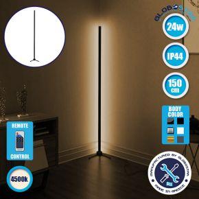 Μοντέρνο Minimal Επιδαπέδιο Μαύρο Φωτιστικό 150cm LED 24 Watt με Ασύρματο Χειριστήριο RF & Dimmer Φυσικό Λευκό 4500k GloboStar ALIEN Design GLOBO-150-2