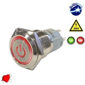 Διακοπτάκι LED ON/OFF 230 Volt Κόκκινο