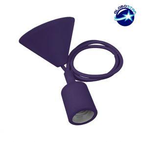 Μωβ Κρεμαστό Φωτιστικό Οροφής Σιλικόνης με Υφασμάτινο Καλώδιο 1 Μέτρο E27 GloboStar Purple 91011