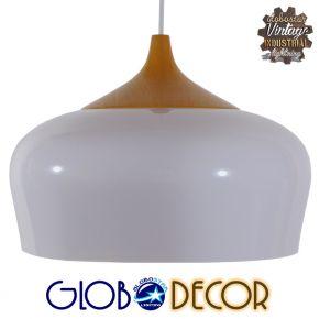 Μοντέρνο Κρεμαστό Φωτιστικό Οροφής Μονόφωτο Λευκό Καμπάνα Φ35 GloboStar VILI WHITE 01260