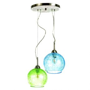 InLight Κρεμαστό φωτιστικό από κρακελέ γυαλί (4289Β-2-Πράσινο-Μπλε)