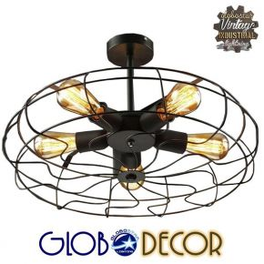 Vintage Industrial Μεταλλική Μαύρη Απλίκα Fan Globostar 5XE27