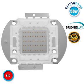 Υψηλής Ισχύος COB LED BRIDGELUX 50W 32V 3000lm Κόκκινο GloboStar 46311