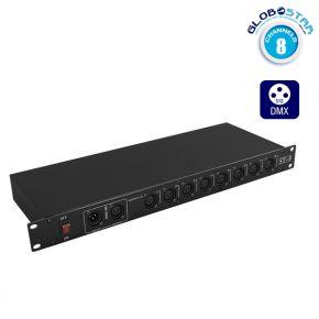 Επαγγελματικός Ενισχυτής Σήματος DMX Amplifier Splitter/Booster 8 Καναλιών DMX512 GloboStar 49764