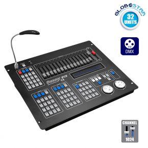 Επαγγελματική Κονσόλα Φωτισμού SUNNY 512 Κανάλια USB LCD Display DMX512 GloboStar 49766