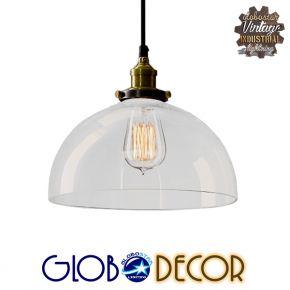 Vintage Γυάλινο Φωτιστικό Οροφής Globostar Campana 1XE27 και Ανάρτηση Καλωδίου