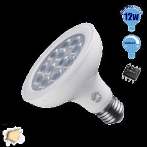 Λαμπτήρας LED E27 PAR30 Globostar 36 Μοίρες 12 Watt 230v Θερμό Dimmable