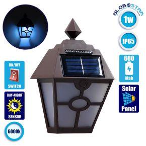 Αυτόνομο Αδιάβροχο IP65 Ηλιακό Φωτοβολταϊκό Φωτιστικό LED 1W με Αισθητήρα Νυχτός Ψυχρό Λευκό 6000k GloboStar 50015
