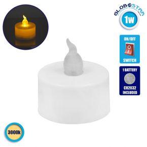Διακοσμητικό Κεράκι Ρεσώ Επιτραπέζιο Μπαταρίας 1W Θερμό Λευκό 3000k GloboStar 50016