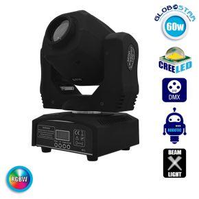 Επαγγελματική Κινούμενη Ρομποτική Κεφαλή Beam CREE LED 60W/90W 230V DMX512 RGBW GloboStar 51137