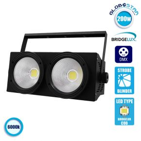 Προβολέας LED COB DMX512 Strobe Blinder Matrix Light 200 Watt (2x100w) Ψυχρό Λευκό 6000k GloboStar 51162