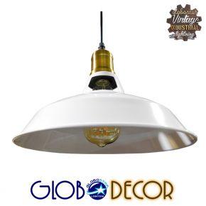 Vintage Industrial Κρεμαστή Μεταλλική Καμπάνα Globostar Φ28 Λευκή Φωτιστικό με Χρυσό Ντουί 1XE27 και Με Ανάρτηση Καλωδίου