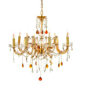InLight Κρεμαστό φωτιστικό από χρυσό μέταλλο γυαλί και κρύσταλλα (5243-8Φ-Χρυσό)