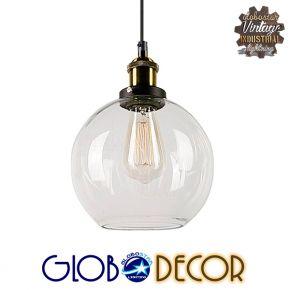 GloboStar® COLLINS 01170 Vintage Κρεμαστό Φωτιστικό Οροφής Μονόφωτο Γυάλινο Καμπάνα Φ18 x Y25cm