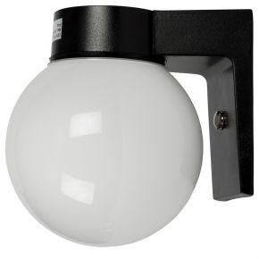 VK LED Κήπου Επιτοίχιο 60W E27 IP44 Μπάλα Γαλακτερή Μαύρη Βάση