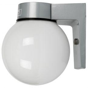 VK LED Κήπου Επιτοίχιο 60W E27 IP44 Μπάλα Γαλακτερή Γκρι Βάση