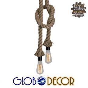 GloboStar® ROPE 01019 Vintage Industrial Κρεμαστό Φωτιστικό Οροφής Δίφωτο με 2 μέτρα Μπεζ Σχοινί Φ3.5 x Y200cm