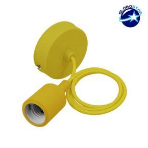 Κίτρινο Κρεμαστό Φωτιστικό Οροφής Σιλικόνης με Υφασμάτινο Καλώδιο 1 Μέτρο E27 GloboStar Yellow 91006
