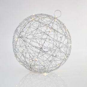 Eurolamp LED Φωτιζόμενη Μπάλα Silver 30CM