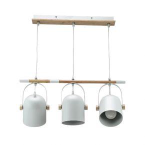 InLight Κρεμαστό φωτιστικό από λευκό μέταλλο και ξύλο (6130-3-WH)