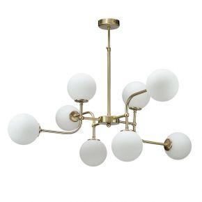 InLight Κρεμαστό φωτιστικό από χρυσαφί μέταλλο και λευκή οπαλίνα (6169-8-GL)