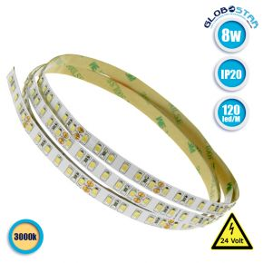 Ταινία LED Λευκή Professional Series 5m 8W/m 24V 120LED/m 2835 SMD 1360lm/m 120° IP20 Θερμό Λευκό 3000k GloboStar 63030
