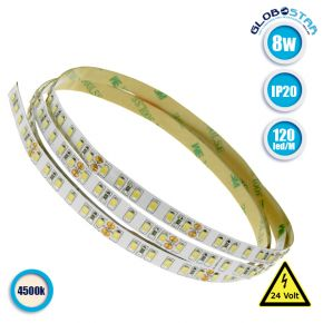 Ταινία LED Λευκή Professional Series 5m 8W/m 24V 120LED/m 2835 SMD 1400lm/m 120° IP20 Φυσικό Λευκό 4500k GloboStar 63031