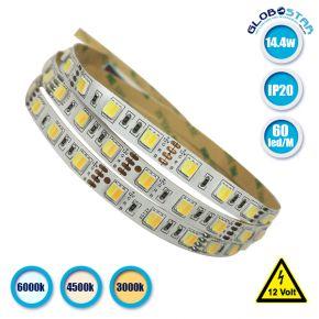 Ταινία LED Λευκή Professional Series 5m 14.4W/m 12V 60LED/m 5050 SMD 1380lm/m 120° IP20 CCT Ψυχρό - Φυσικό - Θερμό Λευκό 6000k 4500k 3000k GloboStar 63080