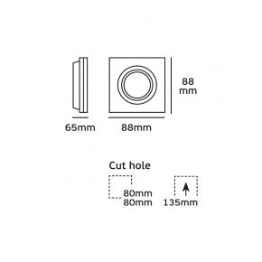 VK Spot Τετράγωνο Αλουμινίου Trimless GU10 88x88x65mm IP20