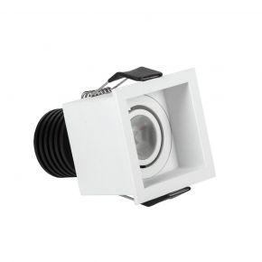 VK LED Spot 3W Τετράγωνο Mini Ματ Λευκό Χωνευτό IP20 55mm