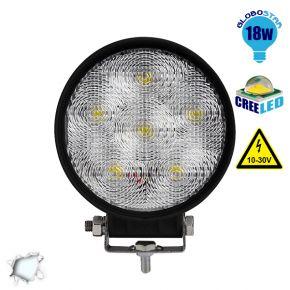 Προβολέας LED Εργασίας Round 18 Watt 10-30v Ψυχρό Λευκό