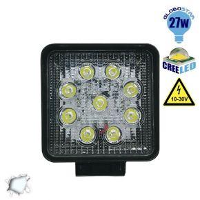 Προβολέας LED Εργασίας Square 27 Watt 10-30v Ψυχρό Λευκό