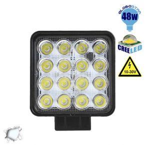 Προβολέας LED Εργασίας Square 48 Watt 10-30v Ψυχρό Λευκό