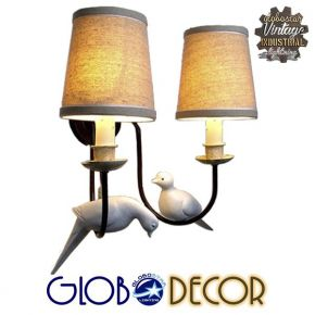 GloboStar® DOVE 01086 Vintage Φωτιστικό Τοίχου Απλίκα Δίφωτο Μαύρο Μεταλλικό με Μπεζ Υφασμάτινο Καπέλο Μ27 x Π43 x Υ30cm