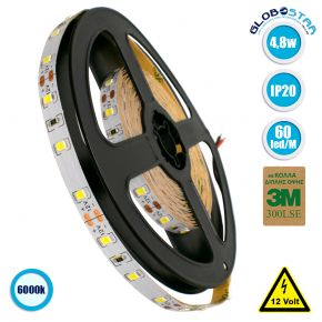 GloboStar® 70000 Ταινία LED 3528 SMD 5m 4.8W/m 60LED/m 390 lm/m 120° DC 12V IP20 Ψυχρό Λευκό 6000k - 5 Χρόνια Εγγύηση