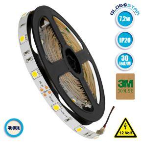 GloboStar® 70011 Ταινία LED SMD 5050 5m 7.2W/m 30LED/m 770 lm/m 120° DC 12V IP20 Φυσικό Λευκό 4500k - 5 Χρόνια Εγγύηση