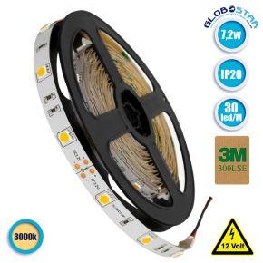 Ταινία LED 5050 SMD 5m 7.2W/m 30LED/m 490 lm/m 120° DC 12V IP20 Θερμό Λευκό 3000k GloboStar 70012