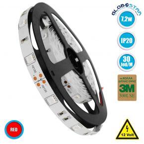 GloboStar® 70014 Ταινία LED SMD 5050 5m 7.2W/m 30LED/m 727 lm/m 120° DC 12V IP20 Κόκκινο - 5 Χρόνια Εγγύηση